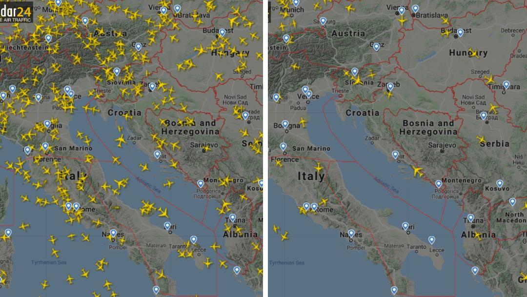 Así luce el tráfico aéreo del mundo tras coronavirus COVID-19