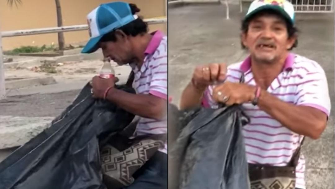 Foto Sorprenden a vendedor ambulante rellenando refrescos en plena calle 5 marzo 2020