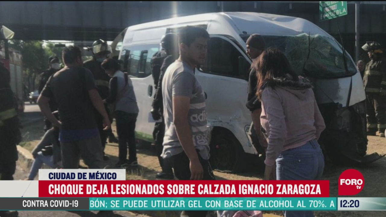 FOTO:11 de abril 2020, choque de camioneta del transporte publico deja 14 heridos en venustiano carranza