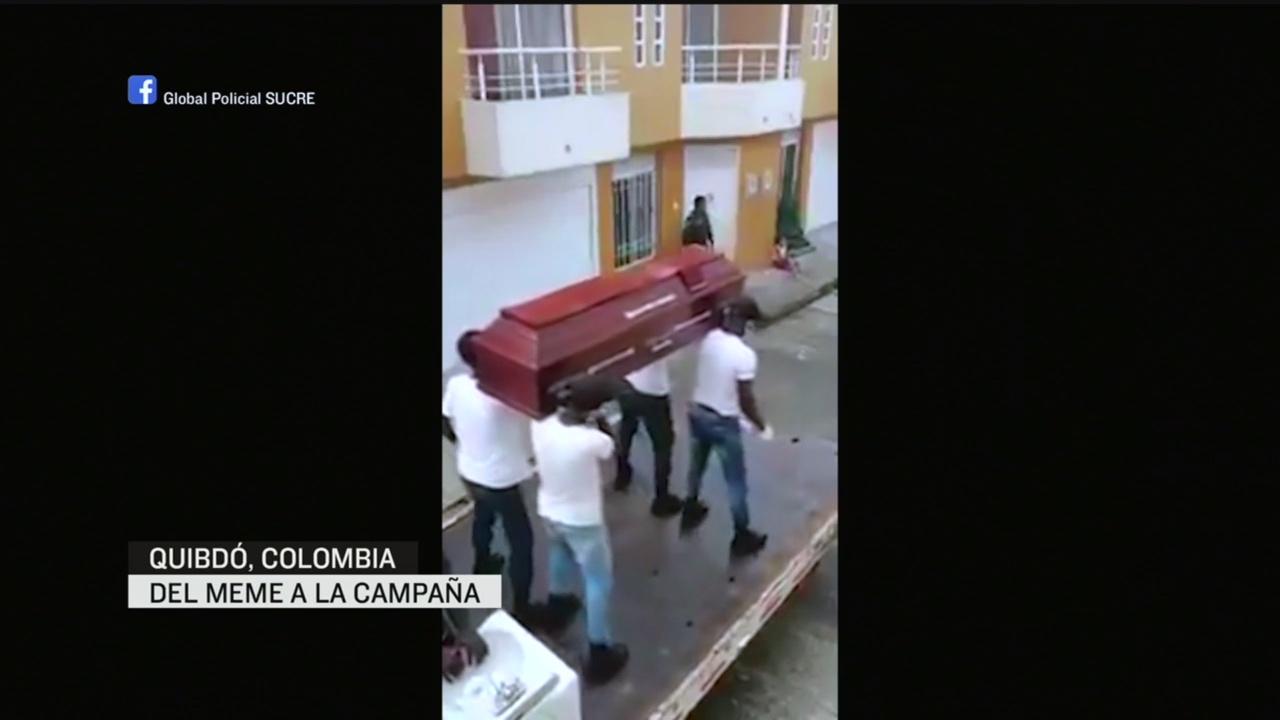 Foto: Coronavirus Policías Colombia Bailan Ataúd Calles Concienciar Covid-19 16 Abril 2020