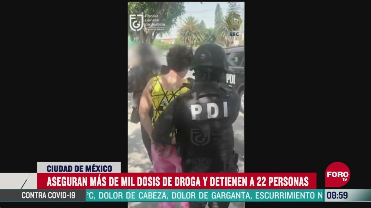 FOTO: 24 de mayo 2020, aseguran mil dosis de droga y detienen a 22 personas en cdmx