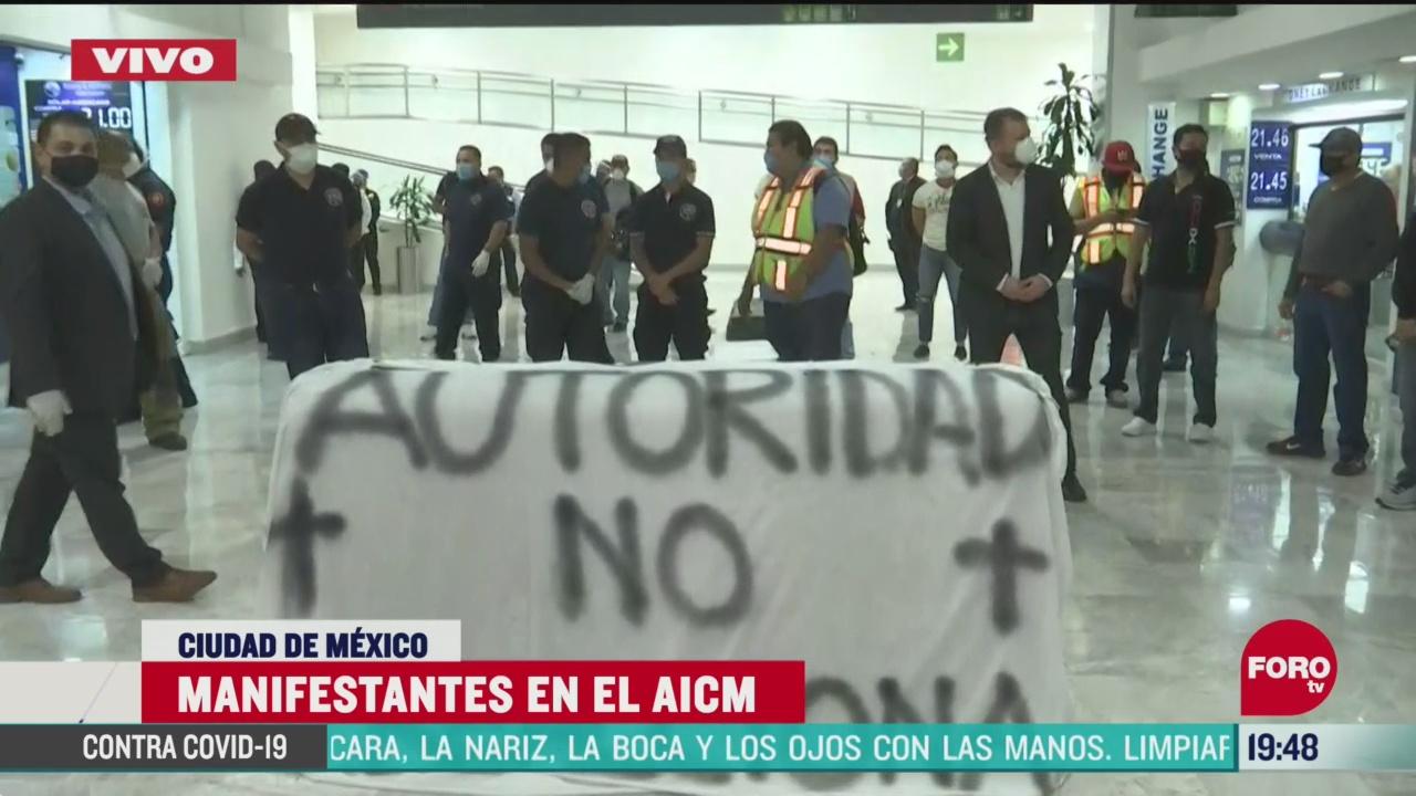 Foto: Bomberos Cdmx Protestan En Aeropuerto Cdmx 7 Mayo 2020
