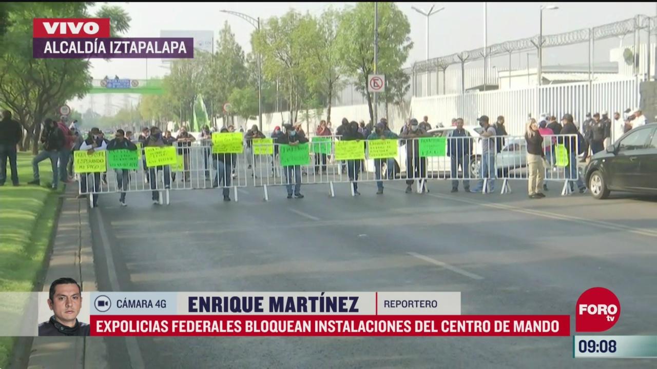 expolicias federales bloquean instalaciones centro de mando