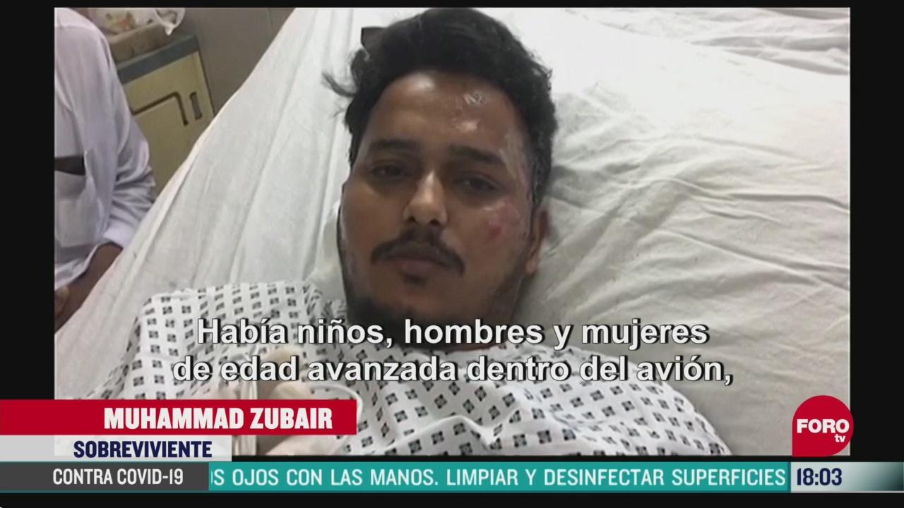FOTO: hombre salta durante accidente aereo en pakistan y sobrevive