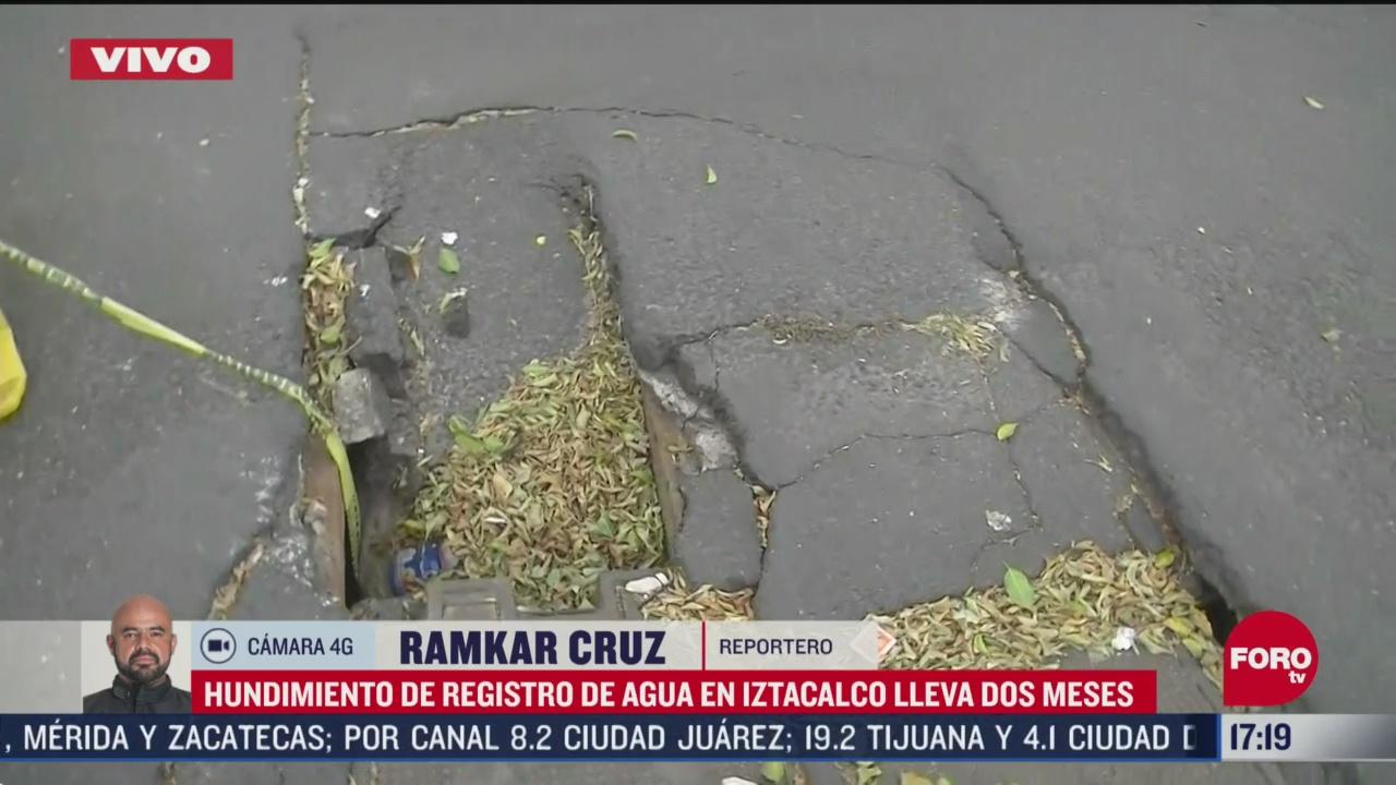 FOTO: 16 de mayo 2020, hundimiento de registro de agua en iztacalco lleva dos meses