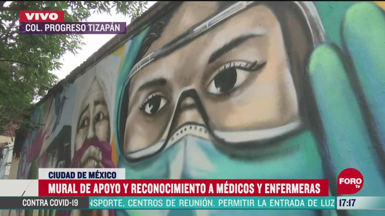 FOTO: realizan mural de apoyo a personal medico en cdmx
