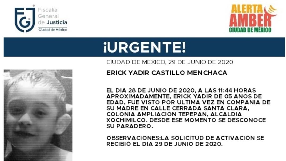 Alerta Amber para localizar a Erick Yadir Castillo Menchaca