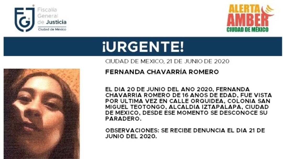 FOTO: Activan Alerta Amber para localizar a Fernanda Chavarría Romero, el 22 de junio de 2020