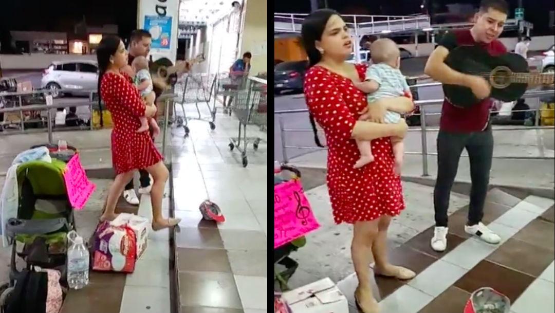 Video: Pareja canta en la calle para juntar dinero y comprarle leche a su bebé