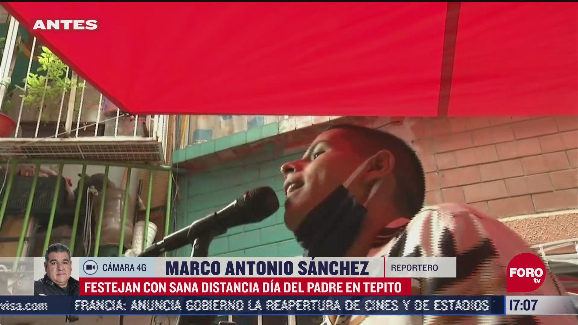 FOTO: 21 de junio 2020, habitantes de tepito celebran el dia del padre con sana distancia