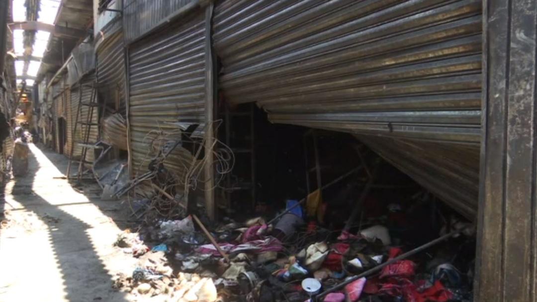 FOTO: Concluyen que corto circuito originó incendio en el Mercado de Abasto, en Oaxaca, el 20 de junio de 2020