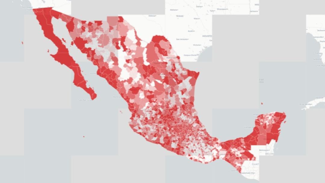 Mapa en rojo por coronavirus en México