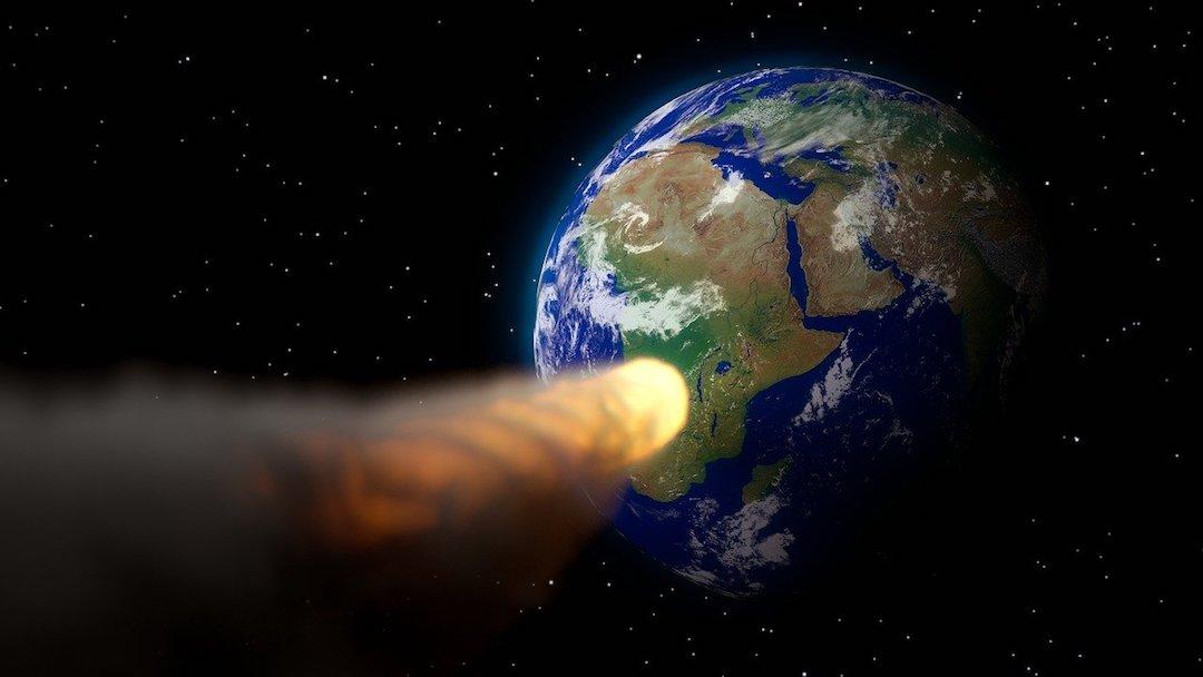 Asteroide Impacto Tierra Origen Vida Simulación Científica Imagen