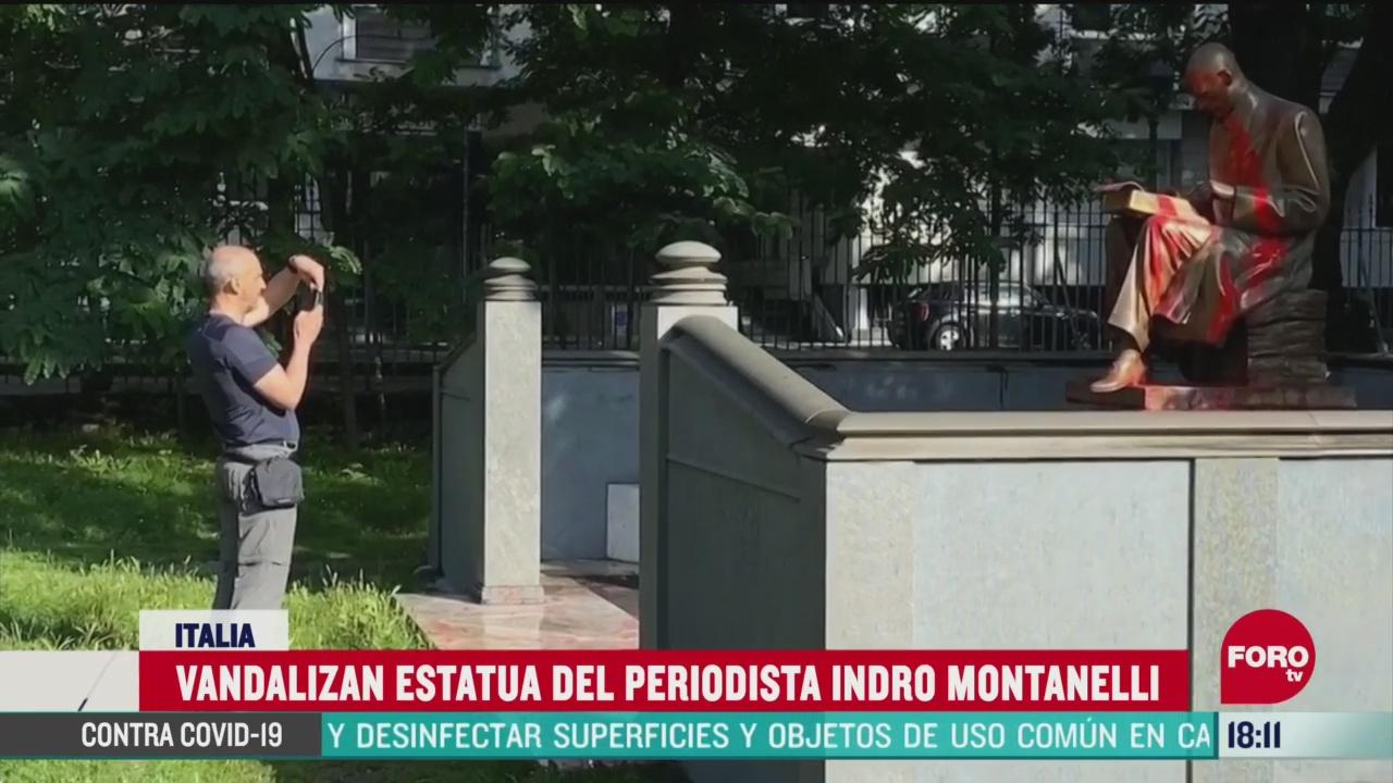 FOTO: 14 de junio 2020, pintan las palabras racista y violador en estatua de periodista italiano