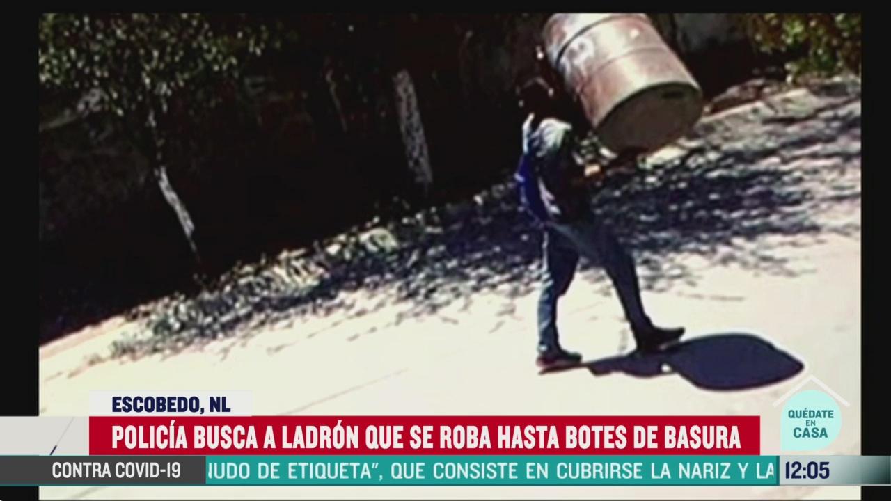 policia busca a ladron que se roba hasta botes de basura en nl