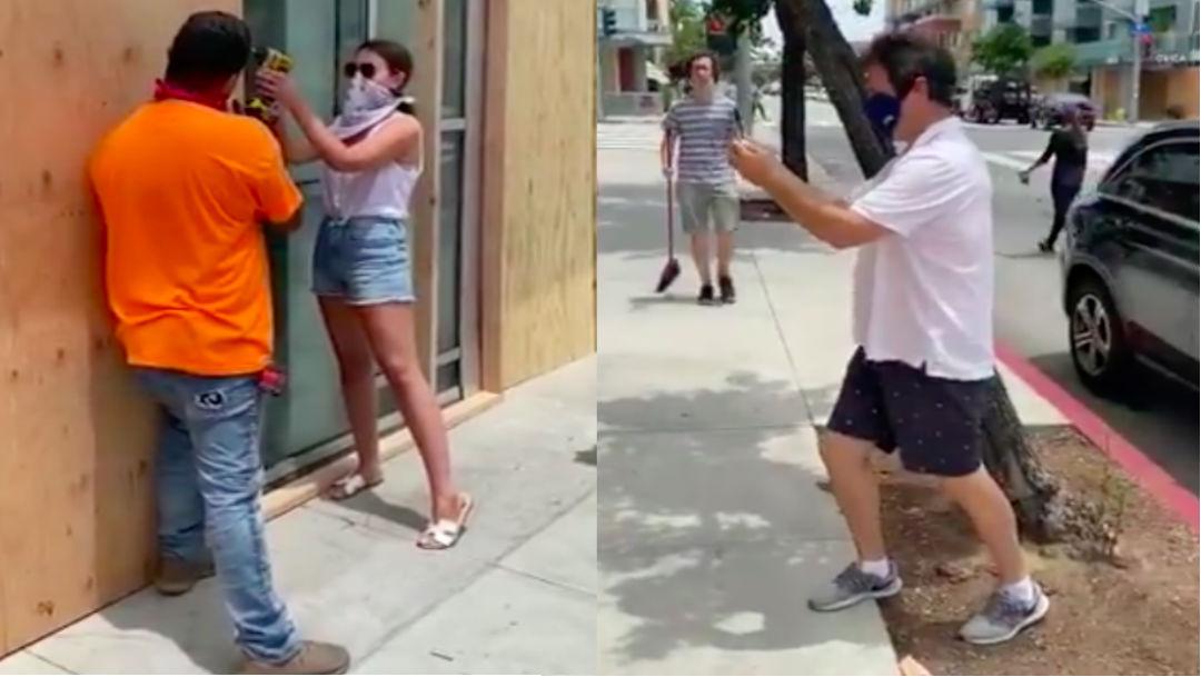 Posa para foto antes de protesta y se marcha en auto lujoso; es exhibida en redes sociales