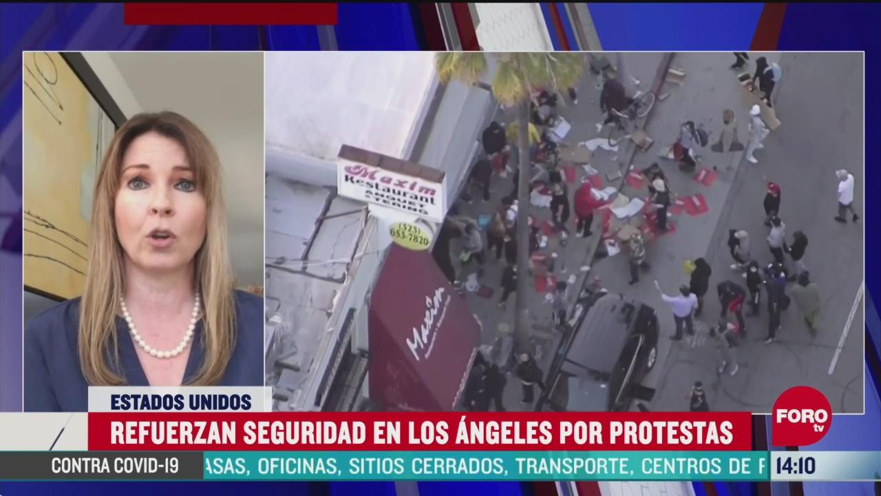 FOTO: refuerzan seguridad en los angeles por protestas