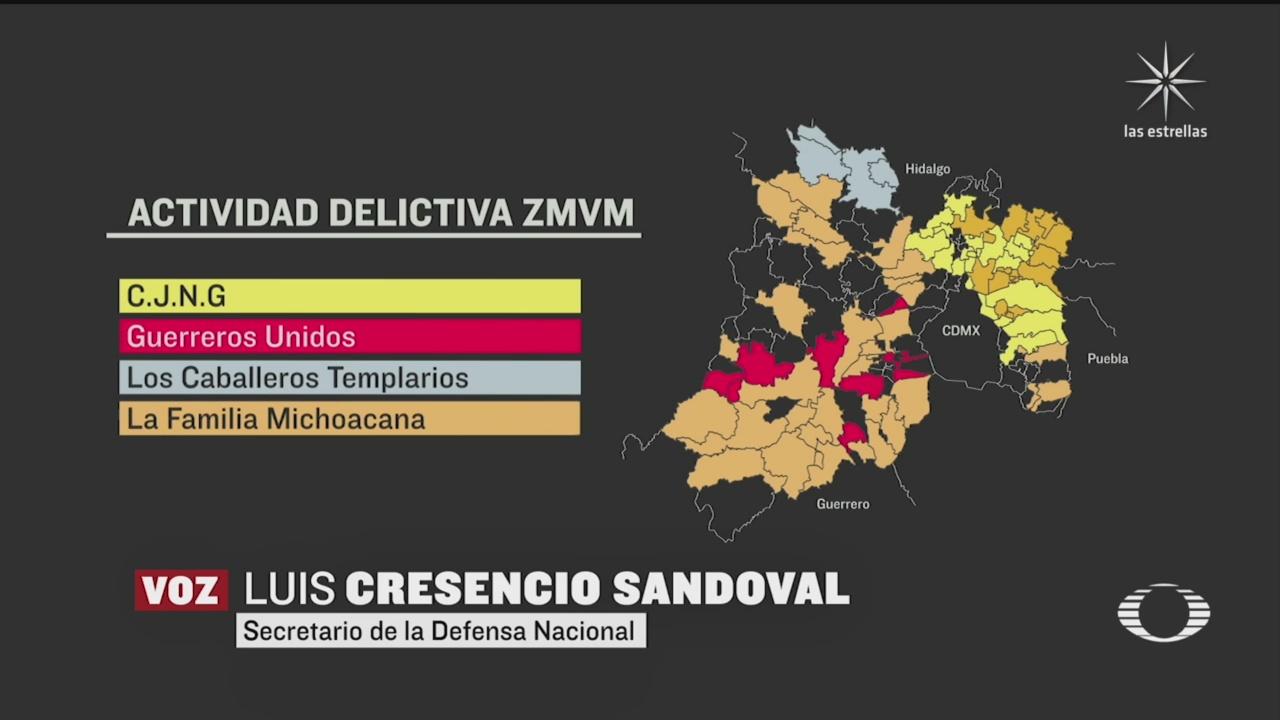 mapa de cárteles criminales en Edomex