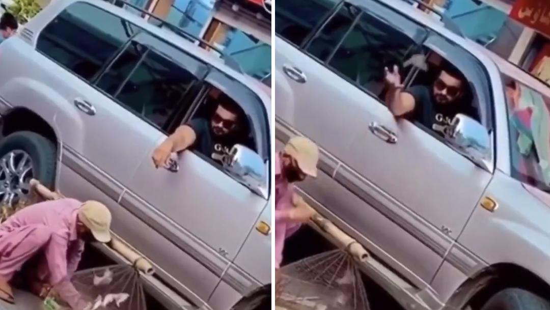 hombre barba lentes cabello oscuro playera negra camioneta blanca y hombre ropa rosa pajaros cafés