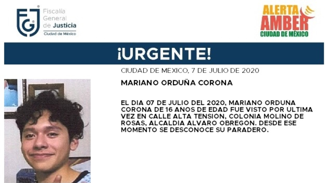 Activan Alerta Amber para localizar a Mariano Orduña Corona