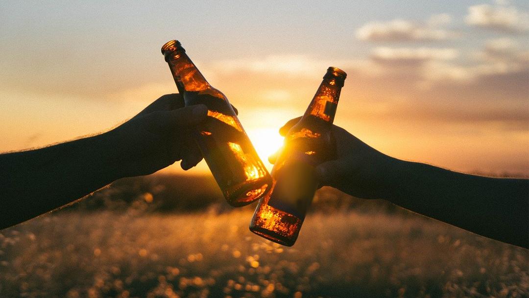 Botellas de cerveza en un campo