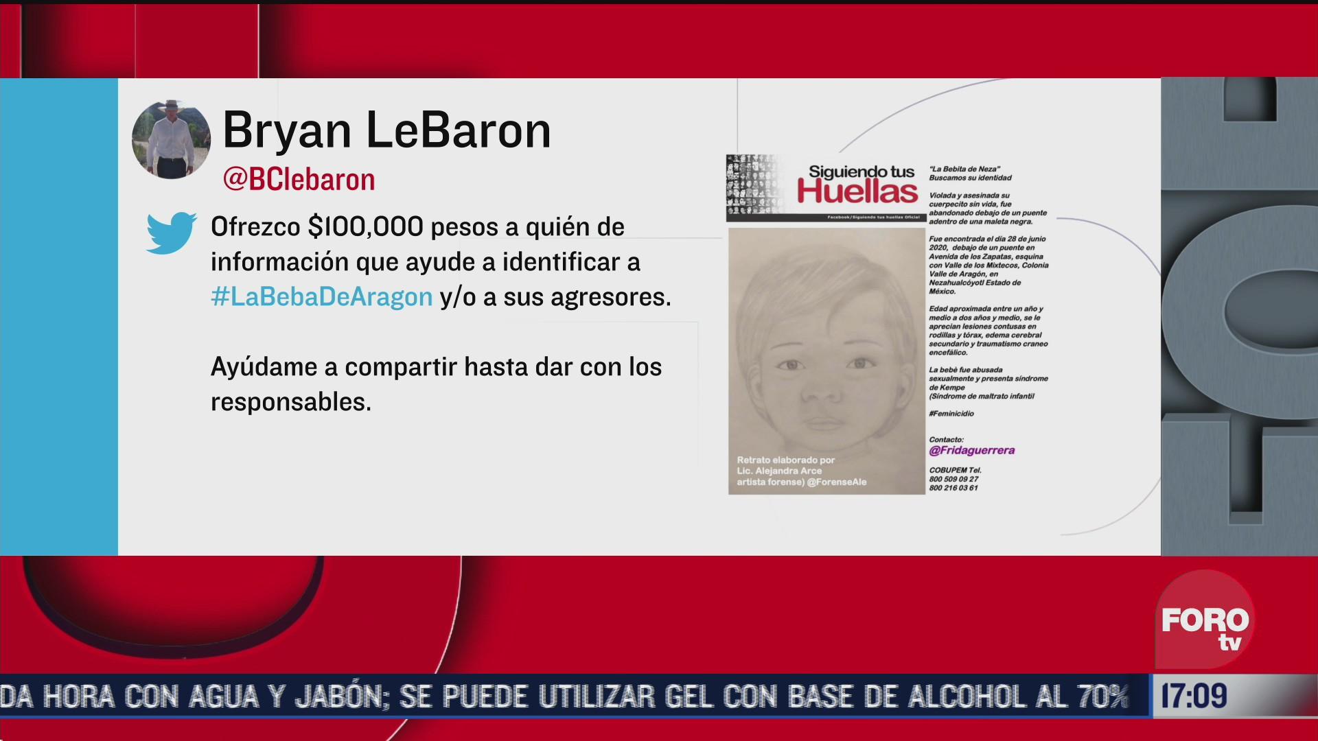 bryan lebaron ofrece 100 mil pesos por identificar a los agresores de una nina encontrada muerta en edomex