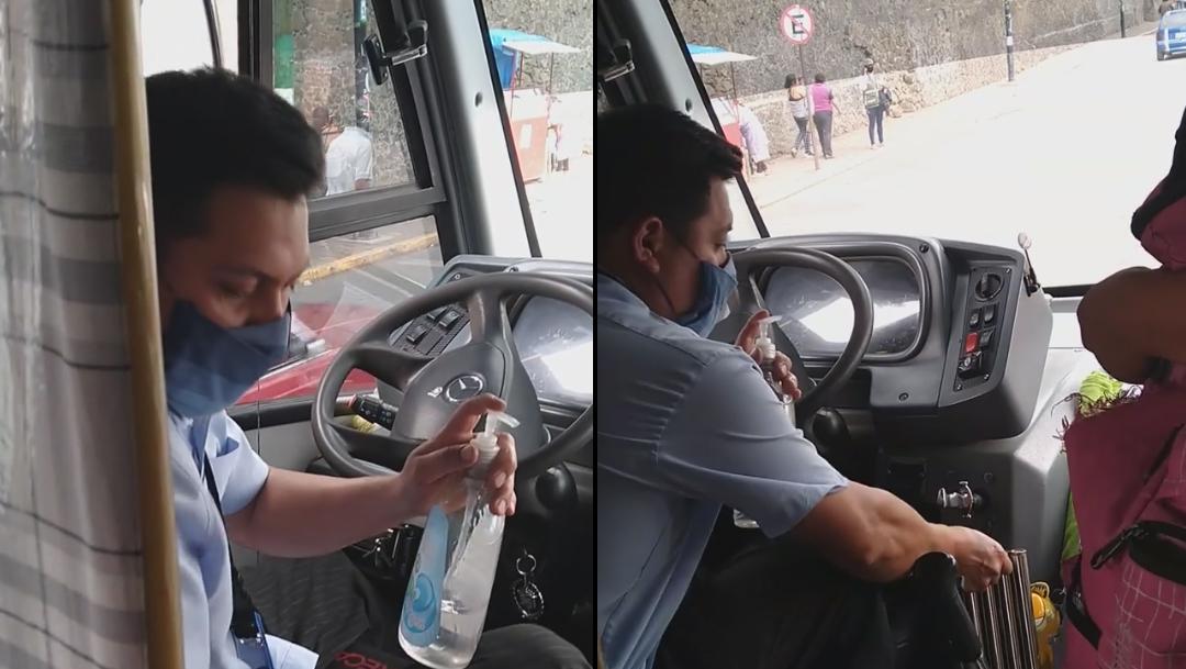 Mario alberto Miranda medina en su unidad de transporte publico.