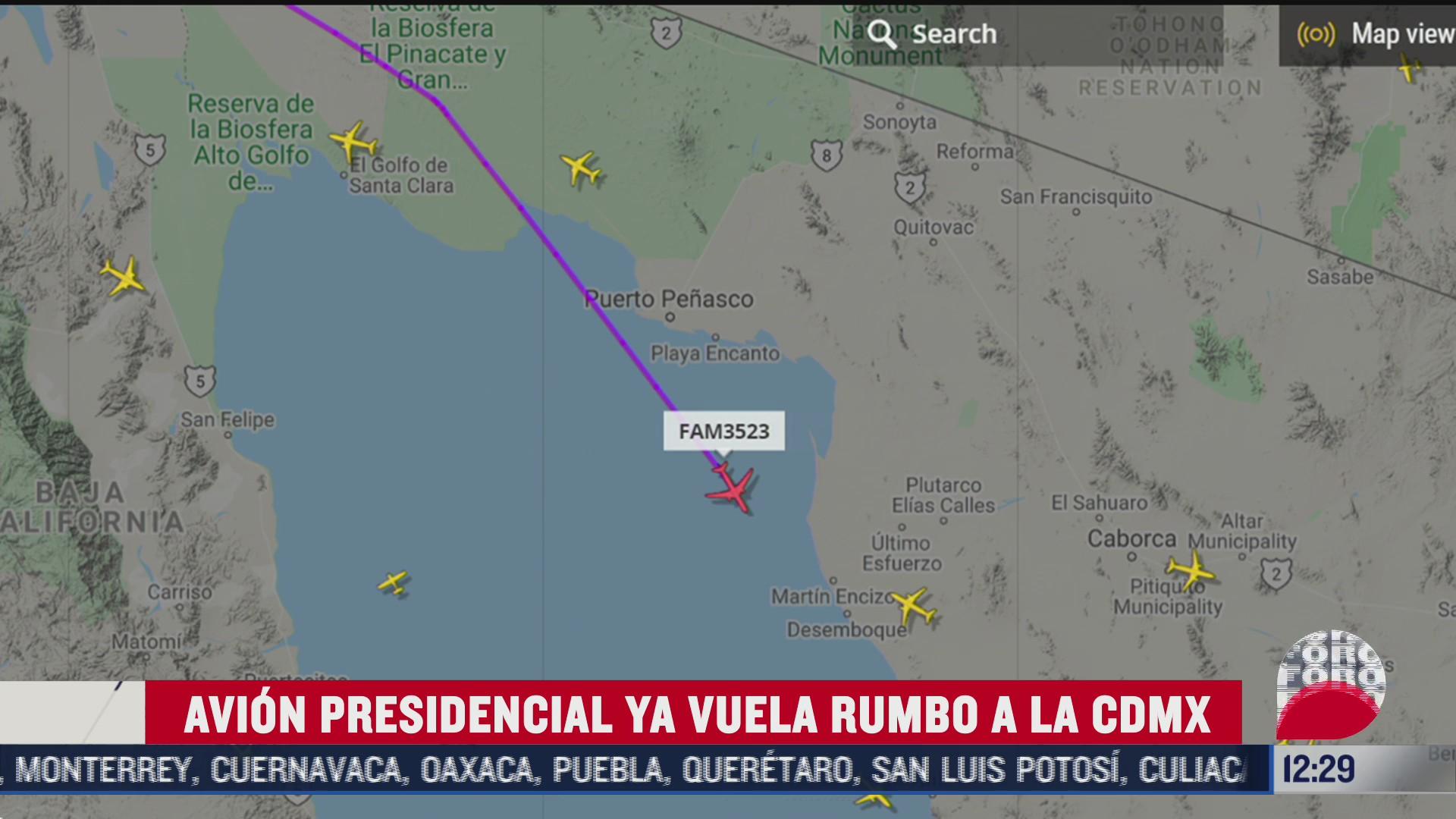 el avion presidencial ya vuela hacia mexico