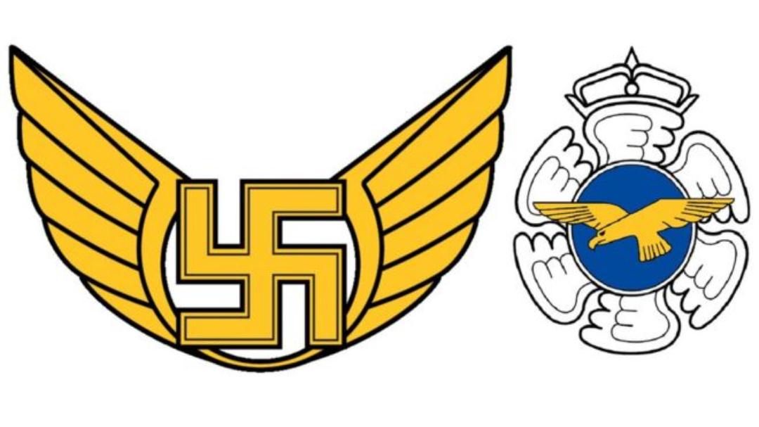 Esvástica en emblema de Fuerza Aérea de Finlandia