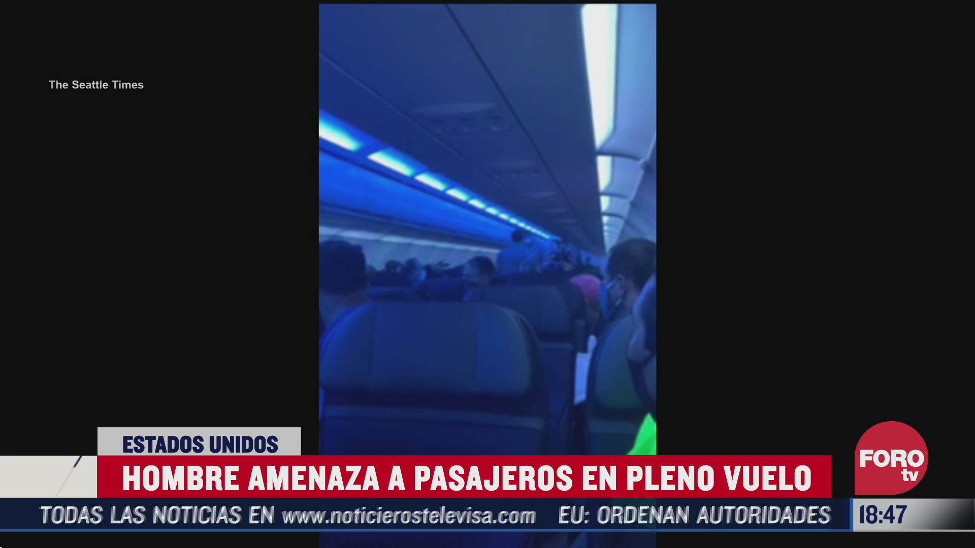 hombre amenaza de muerte a pasajeros de avion