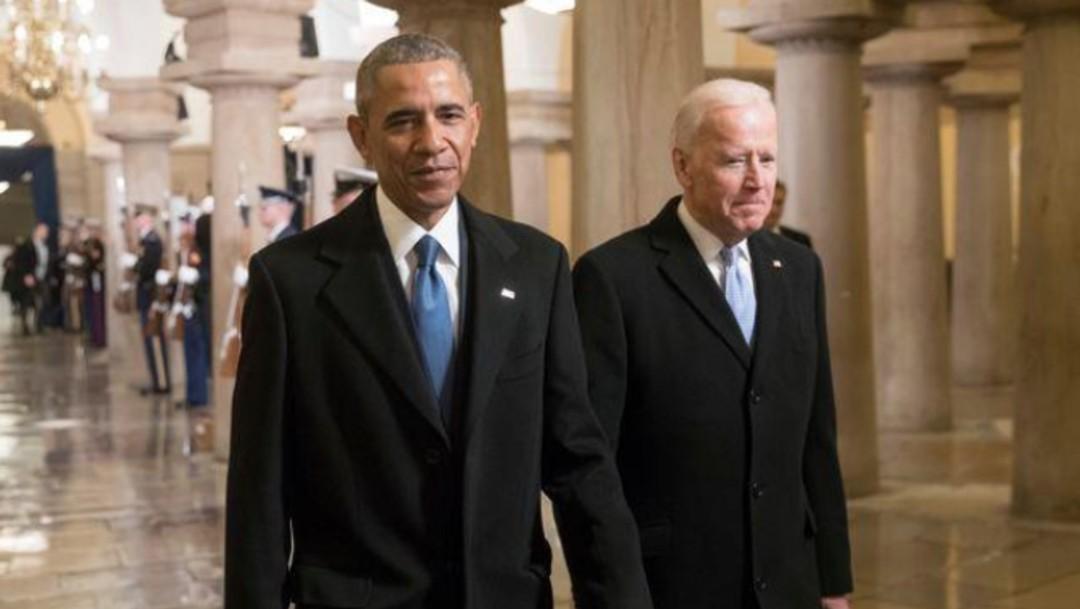 Barack Obama y Joe Biden en el Capitolio en el día de la juramentación de Donald Trump como presidente de EEUU