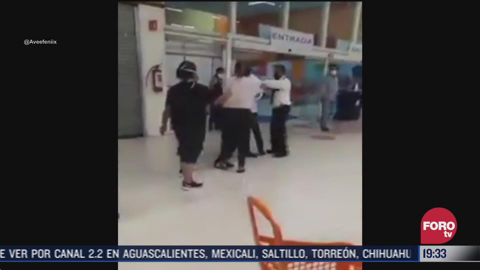 pelea en tienda departamental de tuxpan por no usar cubrebocas
