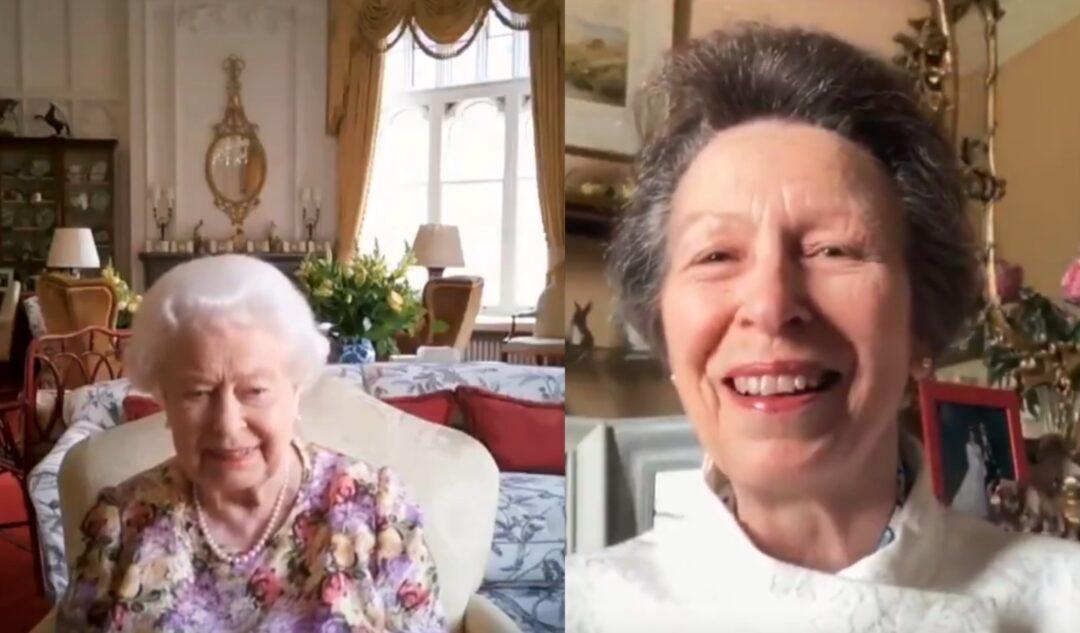 Videollamada entre la princesa Ana y la reina Isabel II