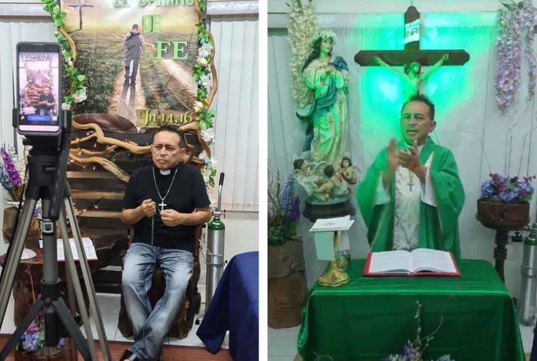 Padre oficia misa por Facebook y con oxígeno; tiene Covid-19