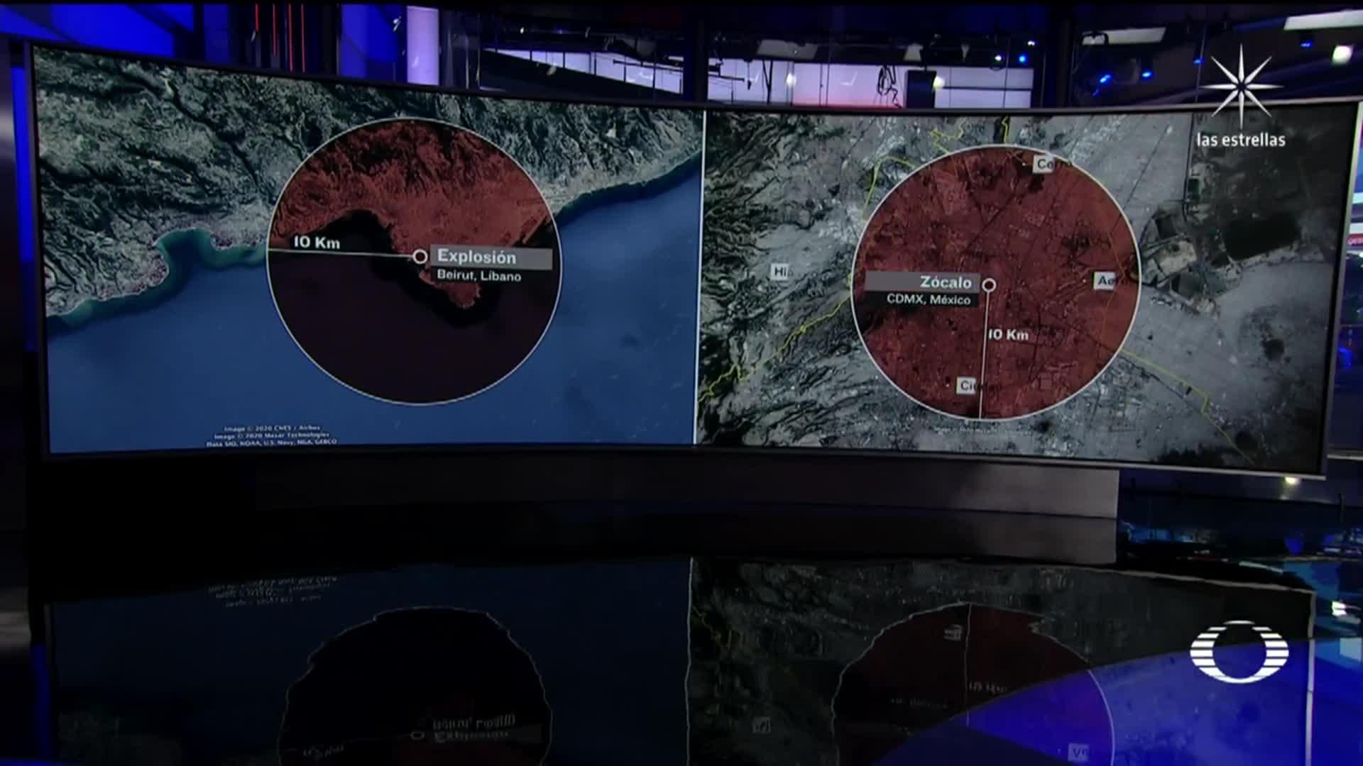 comparativo explosión de Beirut Libano en CDMX México