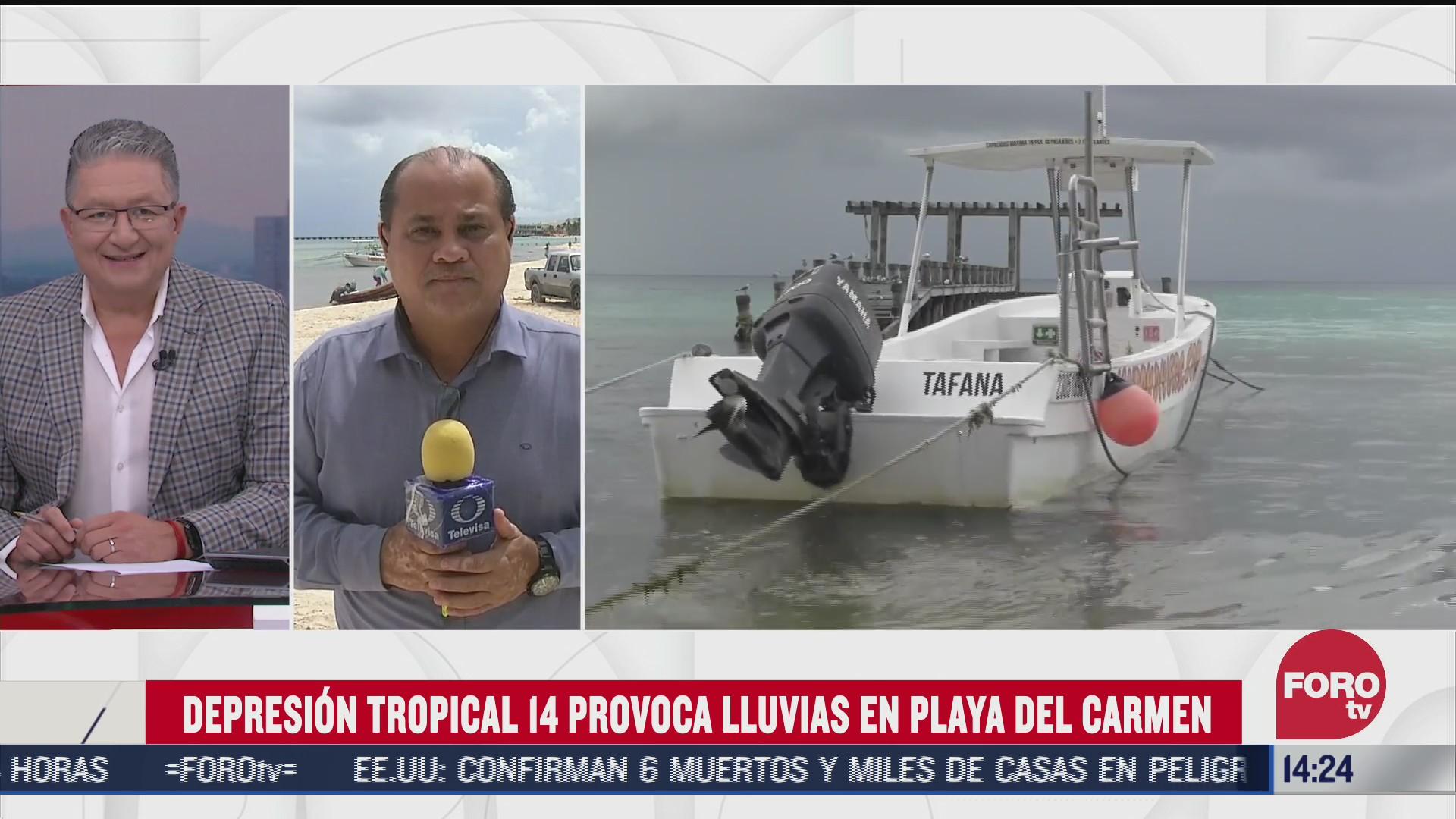 depresion tropical 14 provoca afectaciones en playa del carmen quintana roo