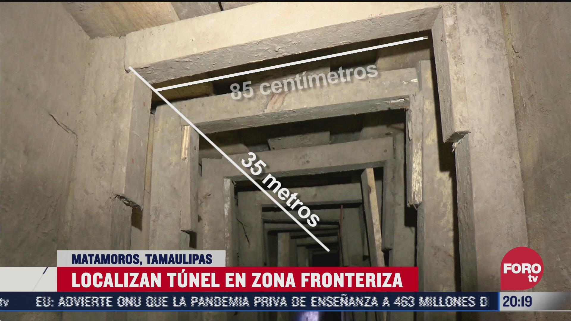 túnel clandestino en la zona fronteriza de Matamoros