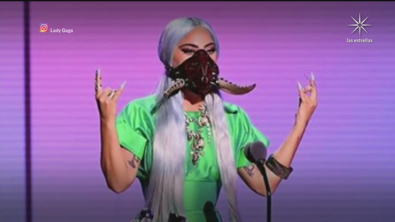 lady gaga y sus cubrebocas triunfan en los mtv video music awards