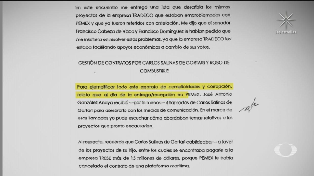 denuncia de Emilio Lozoya donde revela exigencias de legisladores del pan