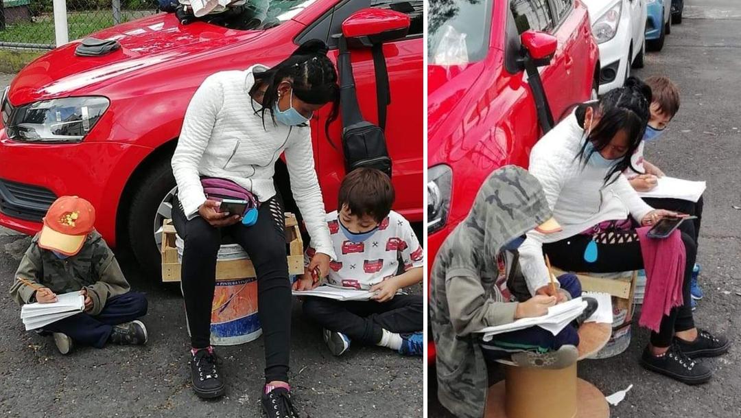 Mamá franelera ayuda a sus niños a estudiar.