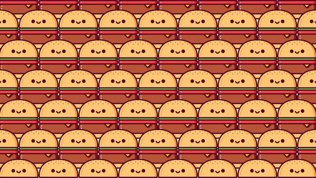 Encuentra hamburguesas diferentes, ilustración