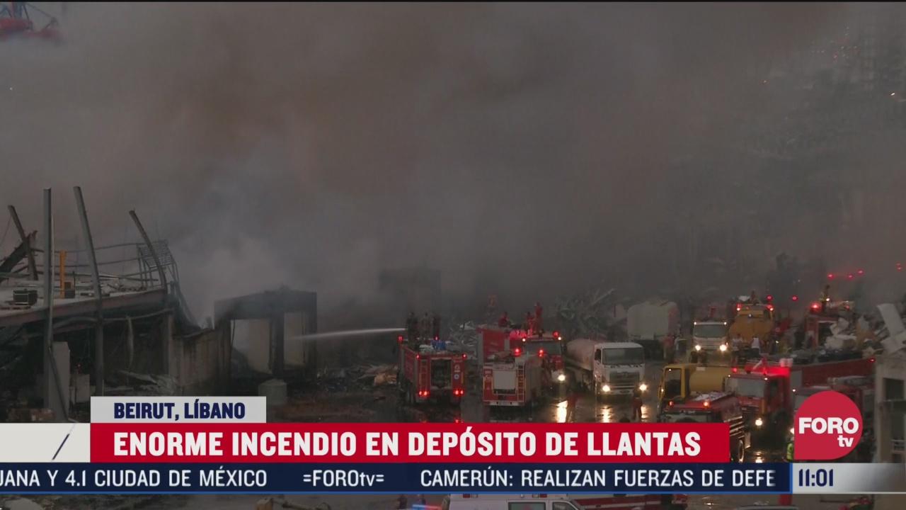 controlan incendio en depositos de llantas en beirut libano