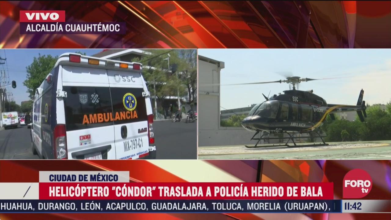 helicoptero condor traslada a policia herido de bala