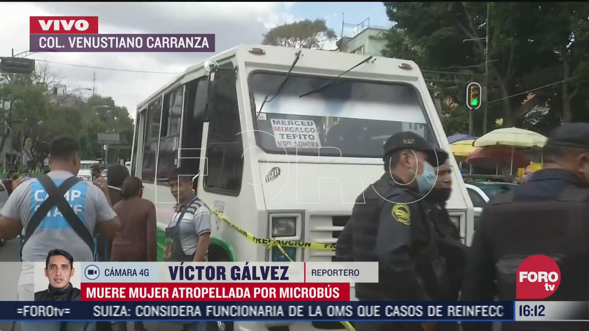 mujer muere atropellada por microbus en zona de la merced