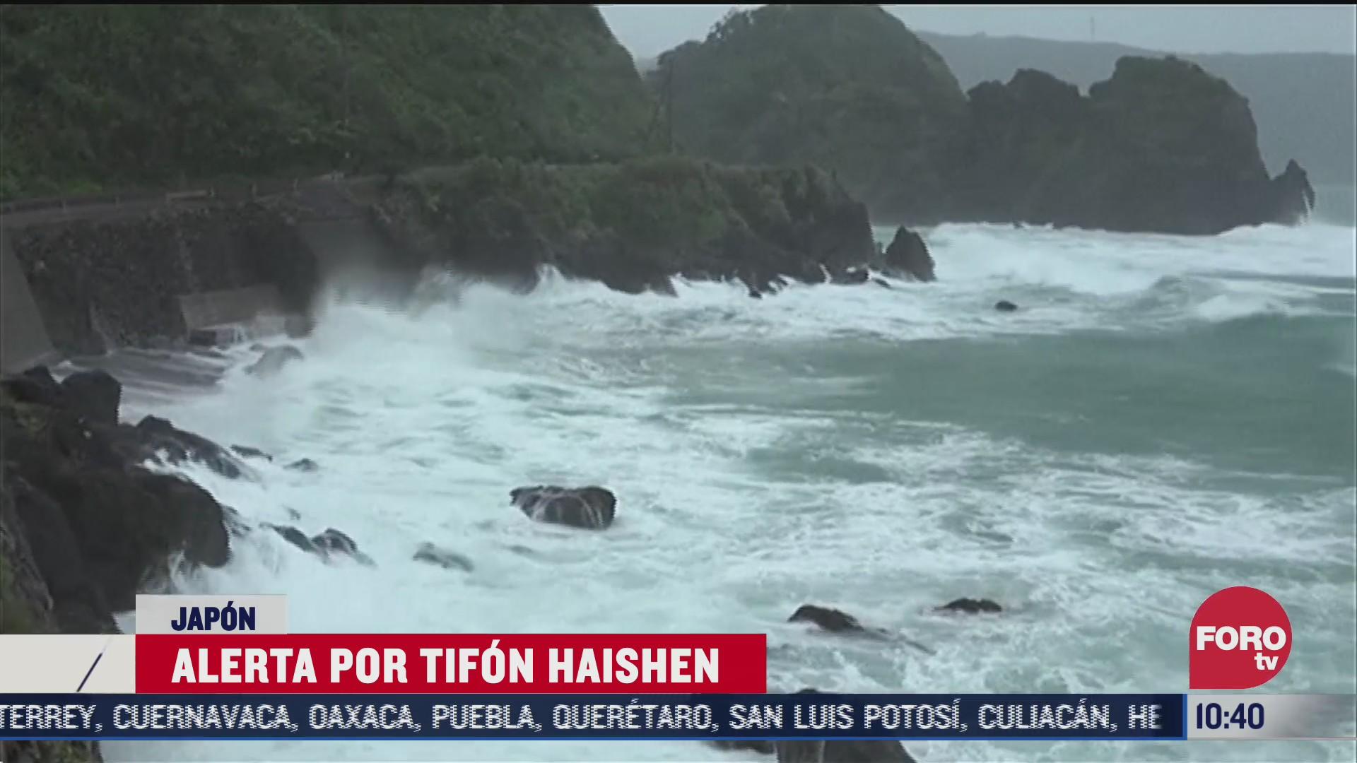 tifon haishen afecta el sur de japon