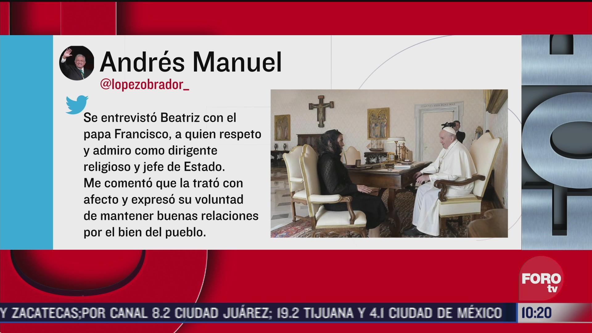 beatriz gutierrez muller entrega carta de amlo al papa francisco