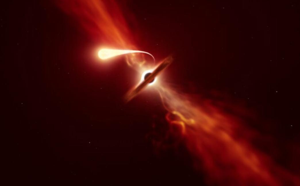 Video muestra cómo un agujero negro succiona una estrella