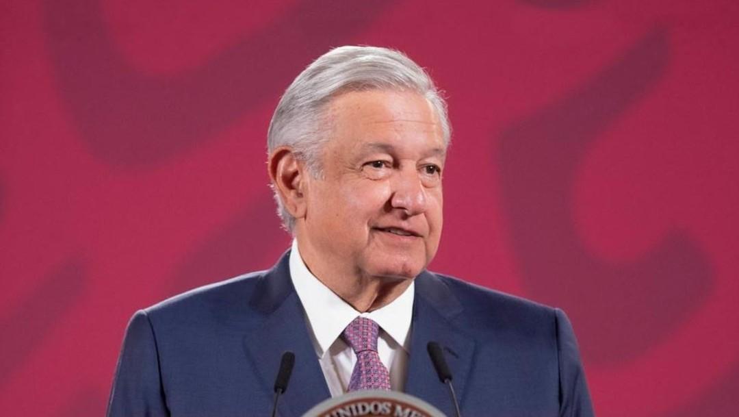 López Obrador en conferencia en Palacio Nacional.