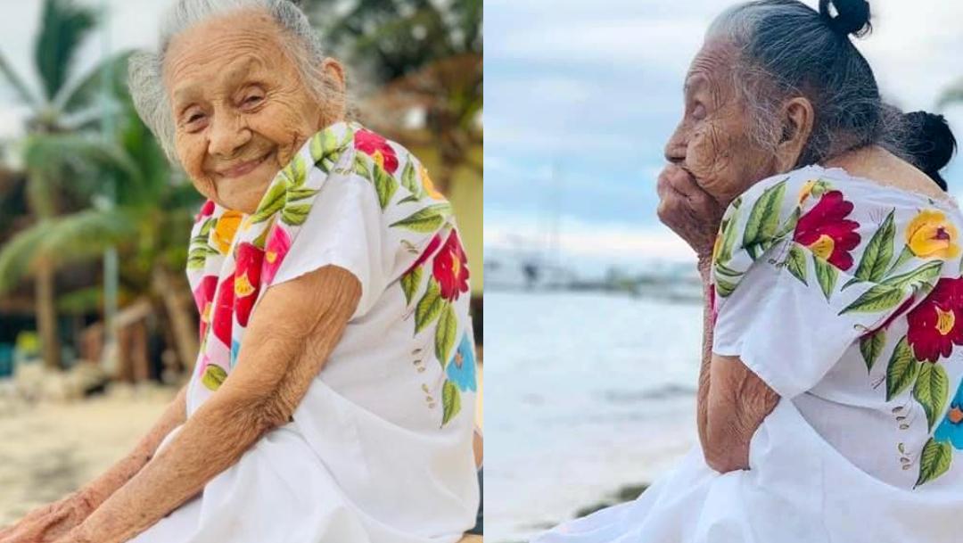 Fotos: Abuelita de 97 años ve por primera vez el mar y conmueve a redes sociales