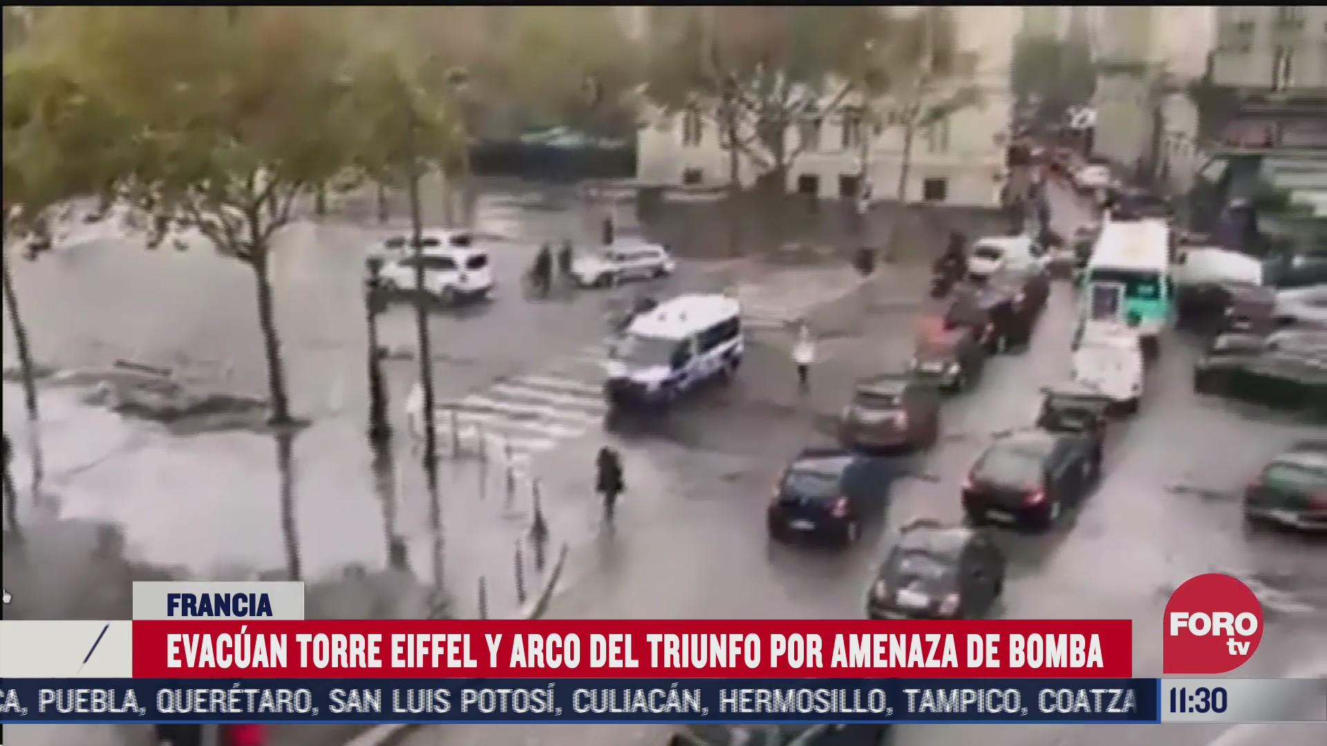 evacuan torre eiffel y arco del triunfo por amenaza de bomba